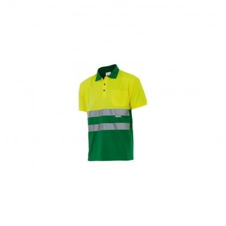 Polo Velilla bicolor manga corta alta visibilidad