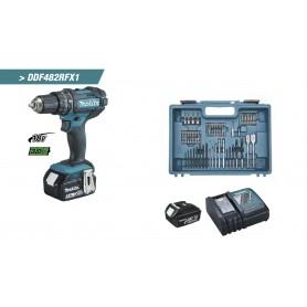 Taladro atornillador Makita DDF482RFX1 18V 3,0Ah + kit accesorios 74 piezas